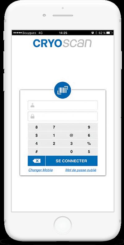 Système d'information et application mobile Cryo Express - Écran 1