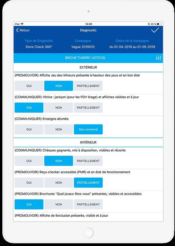 L'écran du questionnaire « store check »